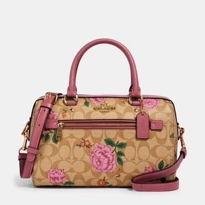 Coach Rowan Satchel Canvas- Prairie Rose Print NWT